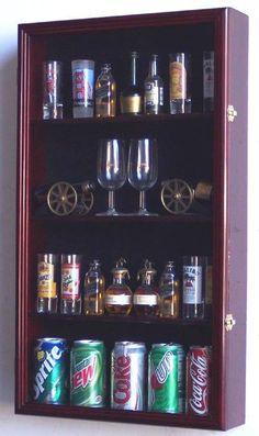 Perfect display case for larger shotglasses, mini liquor bottles and small pop cans... Shotglass Collector Case - Tall Shot Glass/Mini Liquor Bottle