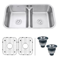 Undermount Stainless Steel 32 in. 16-Gauge 50/50 Low Divide Double Bowl Kitchen Sink, Brushed Stainless Steel