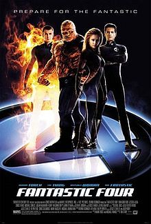 """The Four; Mr. Fantastic ,The Thing ,The Invisble Woman and The Human Torch are standing with their uniforms on the circled number """"4"""" below them ,and the film's title, credits and release date underneath them."""