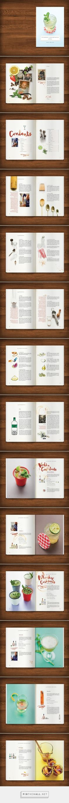 Designed by www.artistictype.co.uk - Cocktail Recipe Book design for Dre Masso. The brief was to design a recipe book for the home bartender that looked fun, relaxed and well used.  All of the ingredients from brand neutral premium spirits to fruit garnishes were hand illustrated and whilst there was a strict grid used in the page layout design, each spread had its own visual identity.  Services supplied: graphic design, recipe book design, page layouts, typography and illustration.: