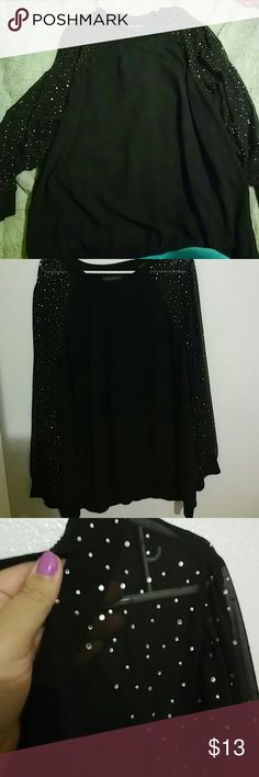 Lane Bryant chiffon blouse 26/28 Black chiffon with sleeves that sparkle.  Excellent condition Lane Bryant Tops Blouses