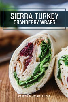 Sierra Turkey Cranberry Wraps are a Boars Head copycat. A delicious lunch packed full of craveable flavours and dipped in a sweet onion vinaigrette. Good Healthy Recipes, Healthy Foods To Eat, Lunch Recipes, Salad Recipes, Healthy Eating, Healthy Lunch Wraps, Health Recipes, Turkey Wrap Recipes, Turkey Wraps