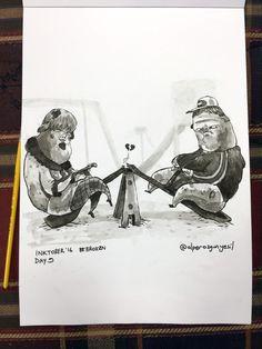 Awful First Dates No: 24 #inktober / #inktober2016 - Day 9 - Theme: #Broken #shade #sketch #eskiz #illustration #illüstrasyon #ink #mürekkep #fırça #brush #october #drawing #çizim #instagood #instaart #art #doodle #pig #piggies #seesaw #domuz #domuzcuk #tahterevalli #park #childrenpark #date #shame