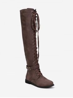 Lace Up Buckle Accent Thigh High Boots Thigh High Boots, Over The Knee Boots, Lace Up Shoes, Cute Shoes, Brown Boots, Black Boots, Low Heels, Thigh Highs, Fashion Boots