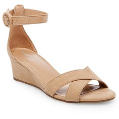 Women's Izabella Wedge Pumps with Ankle Straps - Merona Tan 7.5 #tananklestrapsheels
