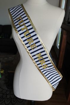 Navy Blue and Gold Striped Bachelorette Sash by BrideMeetsWedding, $29.00