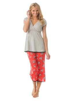 ec2899ed33790 Majamas Lacey Cropped MJ Maternity Nursing Pajama Set Maternity Pajama Set, Nursing  Pajama Set,