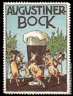 Lot id: 890 - Augustiner Bock Beer Vintage Poster Stamp