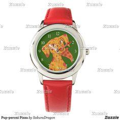 Pup-peroni Pizza Wristwatches #dogs #dalmatian #pizza #food #pets