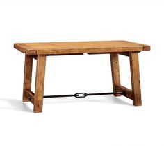 """Benchwright Reclaimed Wood Extending Dining Table, 86 x 42"""", Waxed Pine"""