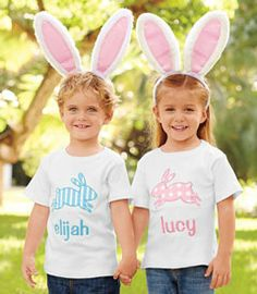 personalized bunny appliqué childrens tee - Much to their eggcitement, children can wear this specially decorated Easter tee. It has a colorful bunny appliqué and the child's name (maximum 10 characters) embroidered below.