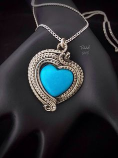 Sterling Silver Wire Woven Turquoise Magnesite Heart Reiki Infused.