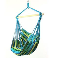 Sunnydaze Hanging Hammock Swing with Two Cushions, Ocean Breeze, 34 Inch Wide Seat