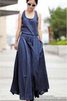 2014 Women's ultra long Linen dress Maxi dress Women Casual summer Party dresses