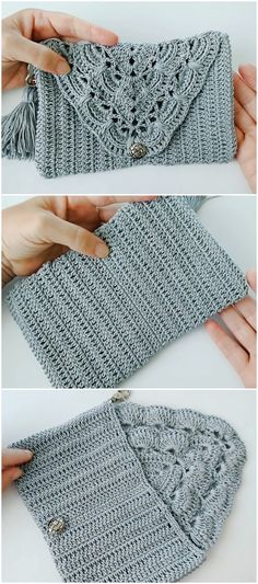 Beautiful Clutch Video Tutorial -Crochet Beautiful Clutch Video Tutorial - Best Ways to Mend and Repair Clothes Using Embroidery and Stitching Hacks. Crochet Video, Easy Crochet, Crochet Baby, Free Crochet, Knit Crochet, Crochet Panda, Crochet Clutch Bags, Crochet Purses, Crochet Clutch Pattern