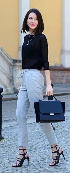 #spring #summer #street #style #outfitideas | Black Sweater + Grey Pants | DaisyLine                                                                             Source