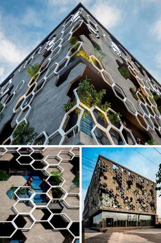Architecture Drawing Discover Hexagonal Facade Design Emerged as a Buffer of Stratifying Elements facade Building Skin, Mix Use Building, Building Facade, Facade Design, Exterior Design, Landscape Arquitecture, Modern Villa Design, Urban Design, Facade Lighting