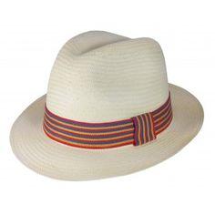Chapéu Panamá Original Palha Toquilla Aba Média Faixa Colorida - Palha - Ref -14303                                                                                                                                                      Mais