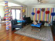 Baby shower decoration love the streamers on the blinds!