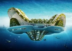 Belgian architect Vincent Callebaut is adding another line to the long list of wacky plans for urban settings. His idea? Well, sustainable floating cities inspired by lily pads. Floating Architecture, Futuristic Architecture, Sustainable Architecture, Architecture Design, Futuristic Art, Green Architecture, City Ville, Vincent Callebaut, Arcology