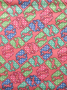 """Fabric for sale in my Etsy shop ~ Vineyard Vines Polka Dot Whales on Pink Cotton Fabric Square (6"""" x 6"""") by lillybelle designs, $4.25 @ lillybelledesigns.etsy.com"""