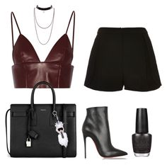 """""""Sans titre #492"""" by charliesclothes ❤ liked on Polyvore featuring Elie Saab, T By Alexander Wang, Yves Saint Laurent, Christian Louboutin, Fendi and OPI"""