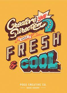 Typography - retro, faded, heavy stroke, neon fill, angled