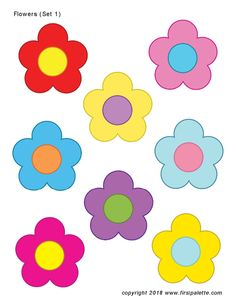 Twelve free printable flower sets that include coloring pages and full-color flowers to use for crafts and other flower-themed activities. The flower sets include five-petal flowers, lilies, sunflowers, roses and cherry blossoms. Templates Printable Free, Printable Stickers, Free Printables, Applique Templates Free, Printable Border, Printable Flower, Owl Templates, Printable Alphabet, Alphabet Letters