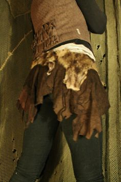 The Nordic Tribal Warrior Skirt - in goat suede leather and toscany lambs fur - for pixies elfs huldra  fairys hunter gypsy  people