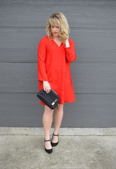 Success on Stilettos; Valentine's Day outfit, little red dress and mary jane's; ohio fashion blog