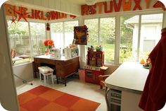 I love the mix of child/adult space....mage from http://wisecrib.com/wp-content/uploads/2015/07/furniture-witching-white-and-brown-colors-wooden-sewing-room-tables-and-combine-with-orange-color-plaid-pattern-plush-carpet-also-white-color-floor-tiles-as-well-as-best-sewing-tables-