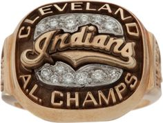 Baseball Collectibles:Others, 1995 Cleveland Indians American League Championship Ladies'Ring. Baseball Ring, Fsu Baseball, Cleveland Indians Baseball, Cleveland Ohio, Cleveland Browns, Cool Rings For Men, Batting Gloves, Championship Rings, American League
