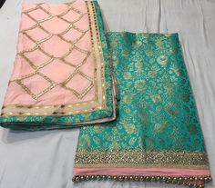 This soft pink and turquoise combination is so lovely! Custom made available at Royal Threads Boutique. Punjabi Salwar Suits, Punjabi Dress, Punjabi Bride, Patiala Suit, Pakistani Dresses, Indian Dresses, Banarasi Suit, Shalwar Kameez, Punjabi Fashion
