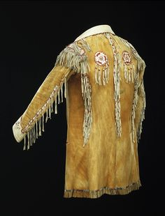 Tanned moose (?) and caribou hide, porcupine quills - c. 1835