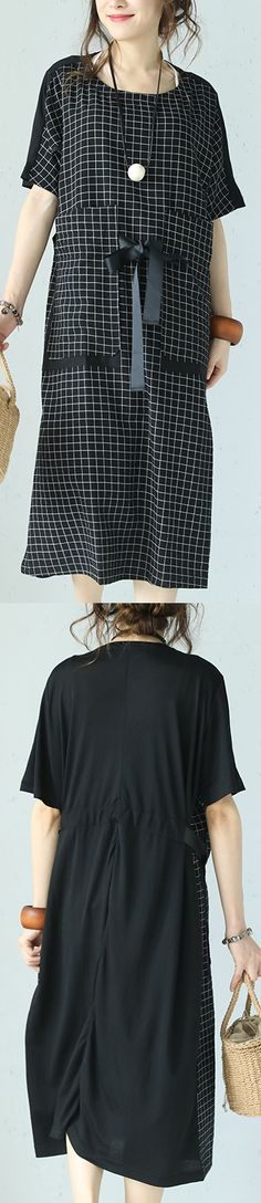0e63f0f9628 fashion black Plaid cotton blended maxi dress trendy plus size o neck short  sleeve traveling clothing 2018 patchwork maxi dresses