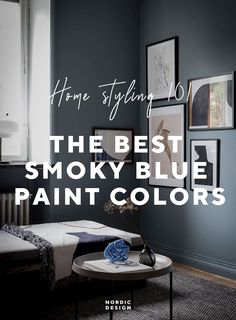 A Serene Little Cocoon in Sweden + My Top Picks for a Similar Smoky Blue - Nordic Design Van Deusen Blue, Modern Rustic Homes, Blue Paint Colors, Interior Photo, Nordic Design, Scandinavian Home, Colorful Furniture, Blue Walls, Paint Designs