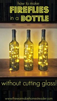 A cheap and easy way to add charm to any room-without cutting glass! A cheap and easy way to add charm to any room-without cutting glass! The post A cheap and easy way to add charm to any room-without cutting glass! Glass Bottle Crafts, Wine Bottle Art, Lighted Wine Bottles, Decorative Wine Bottles, Empty Wine Bottles, Diy Wine Bottles Crafts, Paint Wine Bottles, Wine Bottle Decorations, Diy Bottle Lamp