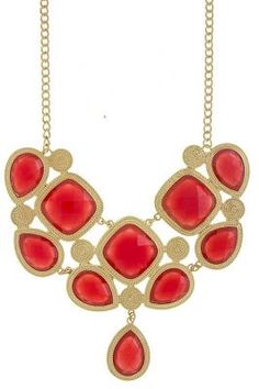 Red Faceted Gold Bib Necklace