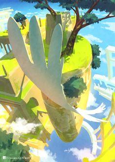 加藤オズワルド (@ozoztv) | Twitter Japon Illustration, Landscape Illustration, Watercolor Illustration, Landscape Concept, Fantasy Landscape, Landscape Art, Underwater Painting, Fanart, My Demons