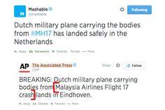 Tuite da AP dava a entender que aviao carregando corpos do #MH17 havia sofrido acidente (!) - Blue Bus