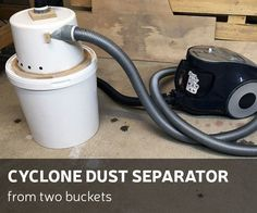 This time I'll show you, how to make a cyclone dust separator from two buckets.How I did it - you can check by looking DIY video or you can follow up instructions bellow. For this project you will need: Materials: two buckets (bigger and smaller) Epoxy glue 16mm plywood16mm long wood screwsSilicone50mm of diameter PVC pipe and 30 degrees elbowTools: Jig sawDrill and bitsScrewdriverUtility knife