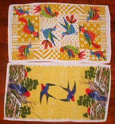 Two Vintage Colorful Bird Tea Towels Measuring 15.5 x 27.5  Inches Long