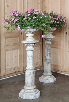 French and European Antique Furniture and Accessories - Inessa Stewart's Antiques Antique Interior, Antique Furniture, Pillar Design, Old World Style, Garden Pool, Historical Architecture, Diy Planters, Potted Plants, Flute