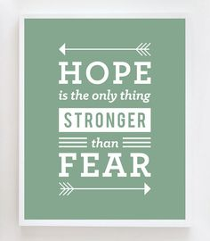 "Hunger Games Quote - ""Hope is the only thing stronger than fear"""
