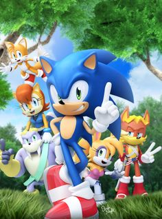 Oh yah, old times with Sonic the Hedgehog and the Freedom Fighters. Sonic Satam, Sonic Dash, Sonic And Amy, Sonic And Shadow, Sonic The Hedgehog, Hedgehog Movie, Hedgehog Art, Sonic Birthday Parties, Sonic Party
