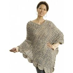 """""""The Gift"""" Poncho. Difficulty Level: Beginner. Click on link for free pattern. http://www.yarnspirations.com/patterns/the-gift-poncho.html"""