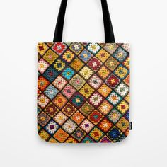 Mandala Patch Tote Bag by folknfunky Mandala Design, Poplin Fabric, Canvas Tote Bags, Hand Sewing, Patches, Just For You, Reusable Tote Bags, Pairs, Shoulder Bag