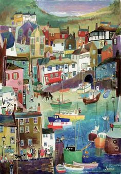 """Little Harbour at Polperro"" Original Painting by Serena, Cornish Naive Artist. Available as limited edition prints and blank art-cards. St Just, Seaside Art, Naive Art, Art Design, Bunt, Painting & Drawing, Folk Art, Art Gallery, Illustration Art"