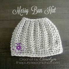 "The Messy Bun Hat is a cute hat that has a whole in the top to pull your hair through to make a ""messy bun"" or a ponytail. I think it is so clever! Made with chunky weight yarn, this works up super…"