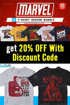 This bundle contains 50 premium designs in vector format that are perfect for t-shirts, hoodies, mugs, and flyers too. With completely editable and pixel perfect vector files you can adapt these t-shirt designs to any size.  If you are looking for some cool t-shirt designs for your new project, this t-shirt design bundle is for you!  Discount code: 20offnow #tshirtdesign #tshirttemplates #marveltshirts #editabledesigns #ads Team Teaching, T Shirt Design Template, 50 And Fabulous, Vector Format, Flyers, Design Bundles, Cool T Shirts, Funny Tshirts, 50th